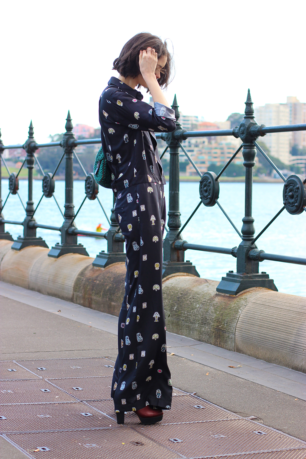CHLOE C HILL FASHION BLOG   Wearing Issa london printed jumpsuit from the outnet at Dawes Point on Sydney Harbour