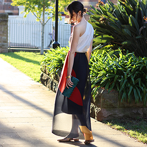 CHLOE CHILL BLOG | YB J'aime top, Issa London maxi skirt from the outnet, H&M studio shoes and Christie Nicolaides bangle
