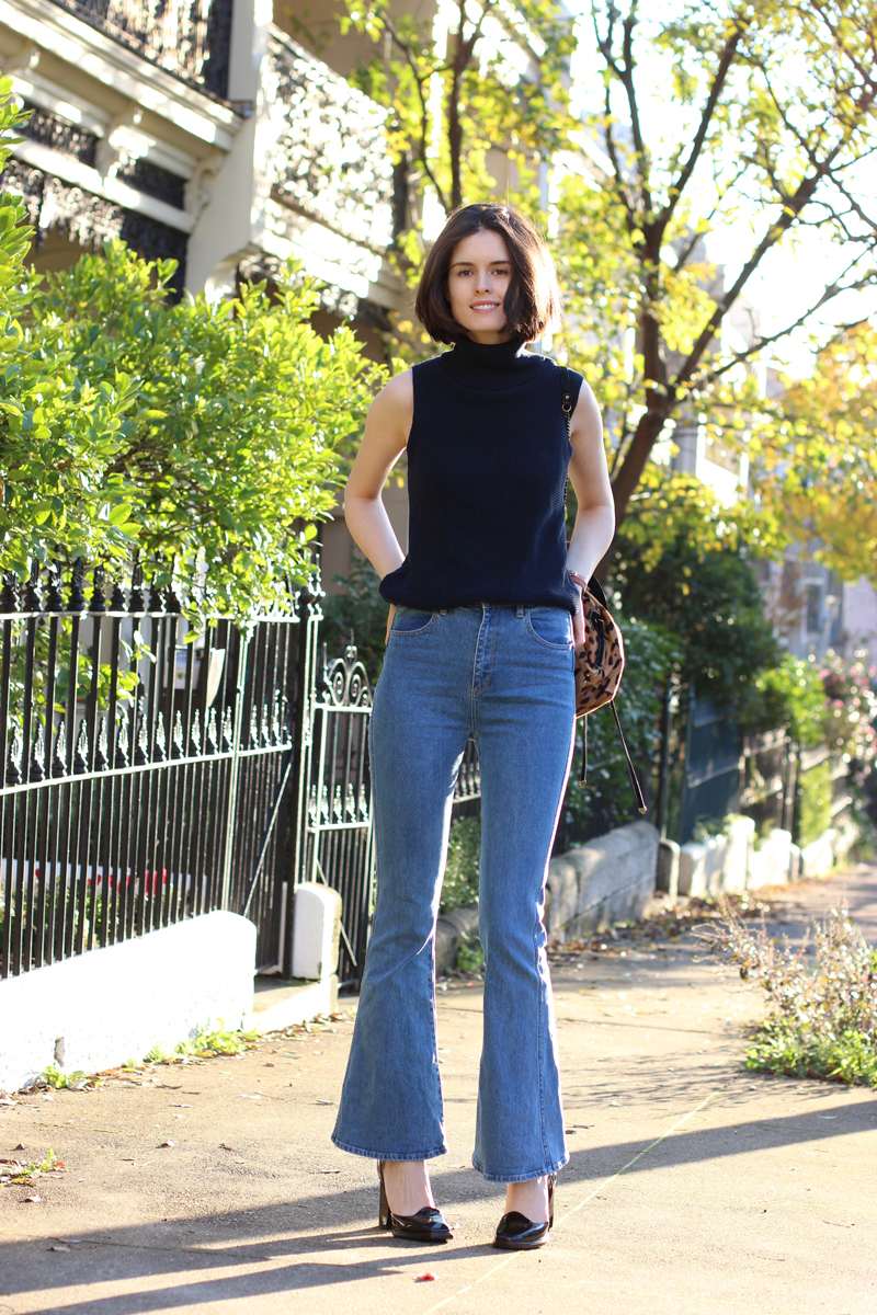 FASHION-AND-BEAUTY-BLOG-Chloe-CHill-in-Lulu-and-Rose-navy-turtleneck-top,-wrangler-flared-jeans-from-Glue-Store,-Triwa-rose-gold-and-tan-watch-and-bottega-venetta-platform-heels