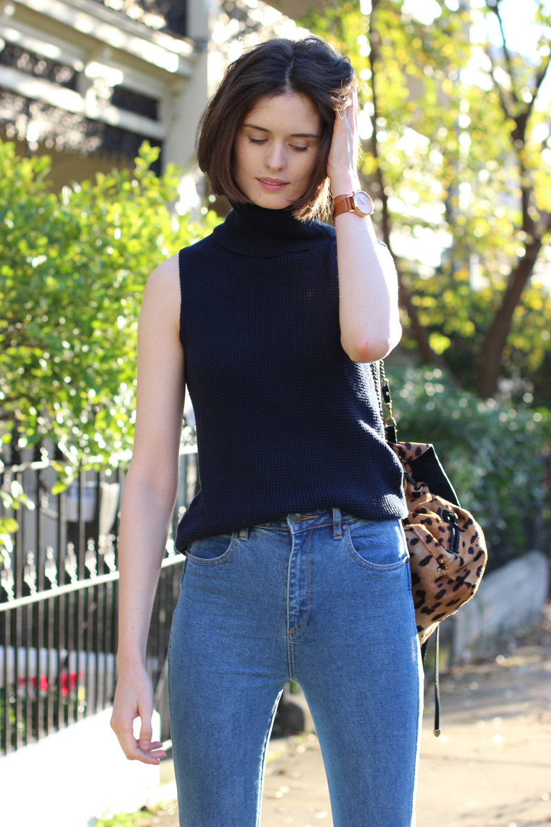 FASHION-AND-SHOPPING-BLOG-_-Chloe-Hill-wearing-Lulu-and-Rose-navy-turtleneck-top-and-wrangler-flared-jeans-from-Glue-Store
