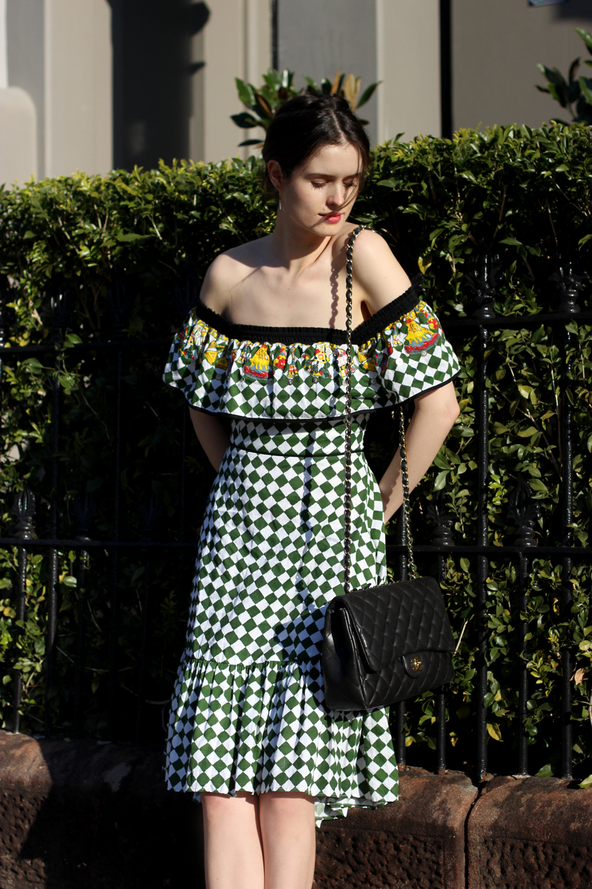 Australian-Fashion-Blog-by-Chleo-HIll-wearing-Easton-Pearson-Takeaway-checked-of-the-shoulder-dress-and-chanel-quilted-bag