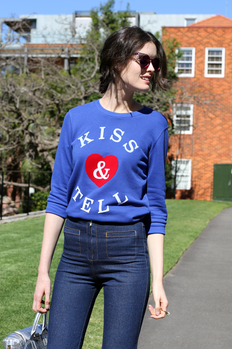 CHLOE-C-HILL-FASHION-BLOG-Chloe-Hill-Wearing-Zoe-Karssen-Kiss-and-tell-sweatshirt,-Karen-Walker-Cuffed-jeans-and-house-of-holland-sunglasses
