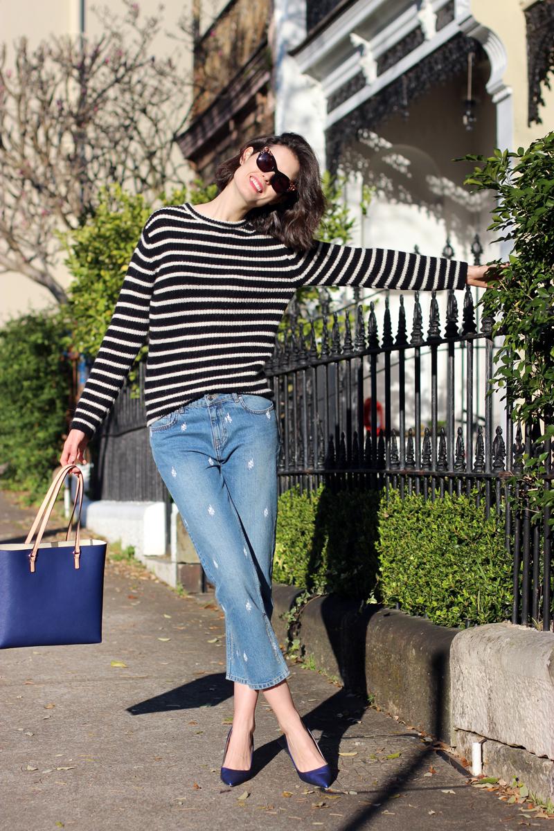 CHLOE-CHILL-SYDNEY-FASHION-BLOG-Iro-Paris-striped-wool-jumper,-boyfriend-jeans,-Oroton-Estate-Tote-and-Manolo-Blahnik-pumps