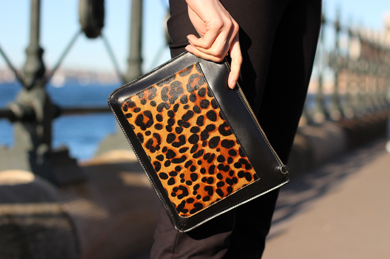Chloe-Chill-Fashion-Blog-feat-lepard-print-panel-clutch-shot-at-dawes-point-sydney