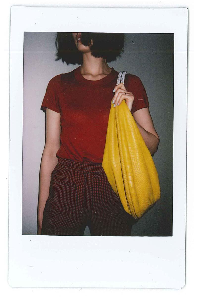 New Zealand Fashion Week 2015 Wearing Iro Paris red tshirt, Karenwalker flares and After the apple mustard bag