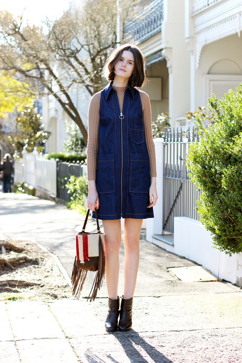 Sydney-Fashion-Blog-by-Chloe-C-Hill-Wearings-Karen-Walker-denim-dress-and-forever-21-ribbed-knit-sweater