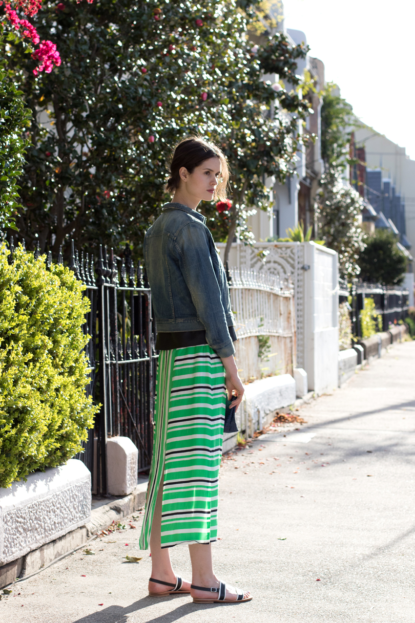CHLOE-HILL-FASHION-BLOGGER-COH-denim-jacket,-Iris-and-Ink-leather-top-and-Easton-pearson-striped-skirt-
