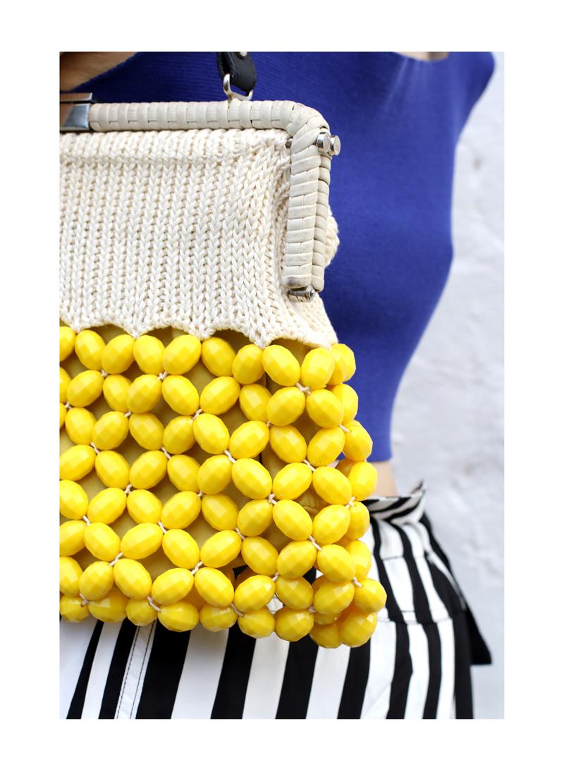 CHLOE CHILL SYDNEY FASHION BLOG Marni Yellow beaded bag and Lee Mathews striped skirt