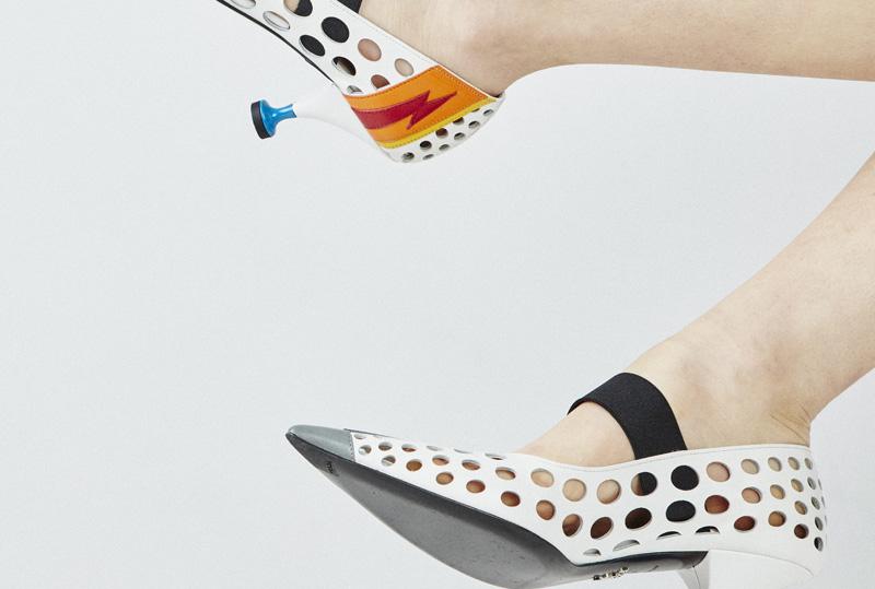 Chloe Hill Fashion Styling Work for Oyster Mag, Prada Uomo 15 arrow sandals shot by Adam Bryce