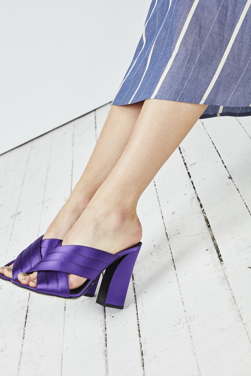 Chloe Hill Fashion Styling Work for Oyster Mag, gucci cruise purple satin heels shot by Adam Bryce
