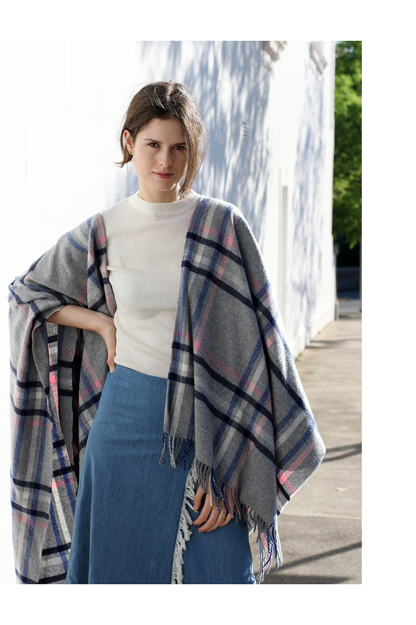 Chloe C Hill in Boden checked blanket wrap, ribbed tshirt, Vale denim frayed skirt and stella mccartney shoes