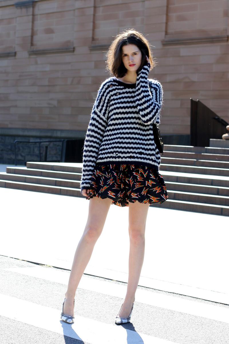 Australian Style Blogger Chloe Hill Wearing Iro Paris striped sweater and Miu Miu print bubble skirt on the streets of Sydney, Australia