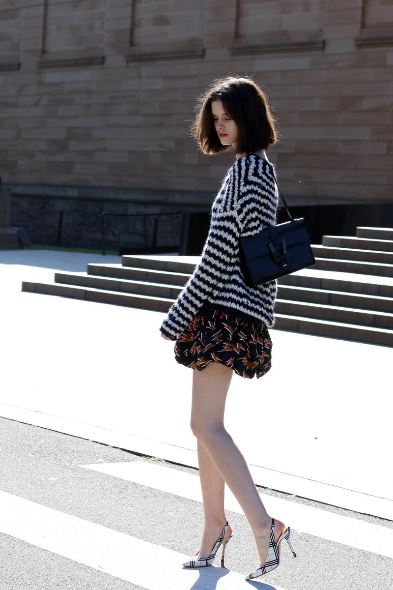 Sydney Style Blogger Chloe Hill Wearing Iro Paris striped sweater and Miu Miu print bubble skirt on the streets of Sydney, Australia