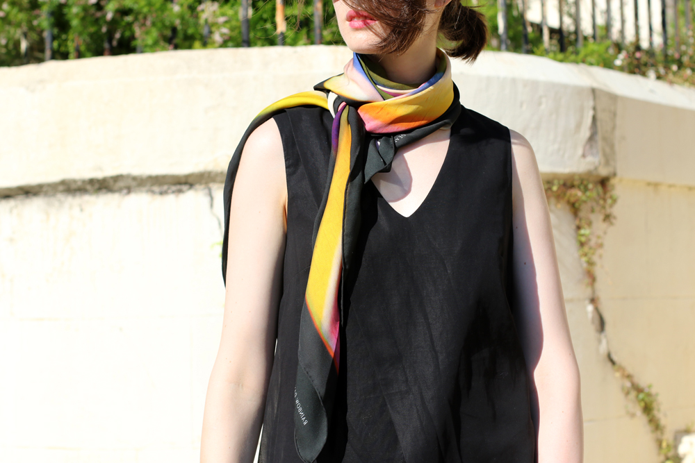 Chloe Hill wearing Gary Bigeni layered black dress, Deadly ponies x len lye rainbow dance silk scarf
