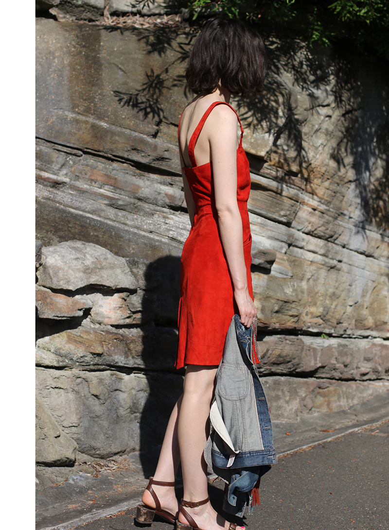 Chloe-Hill-wearing-Jennifer-Kate-red-suede-dress-and-Citizens-of-Humanity-denim-jacket-on-the-streets-of-Sydney-9