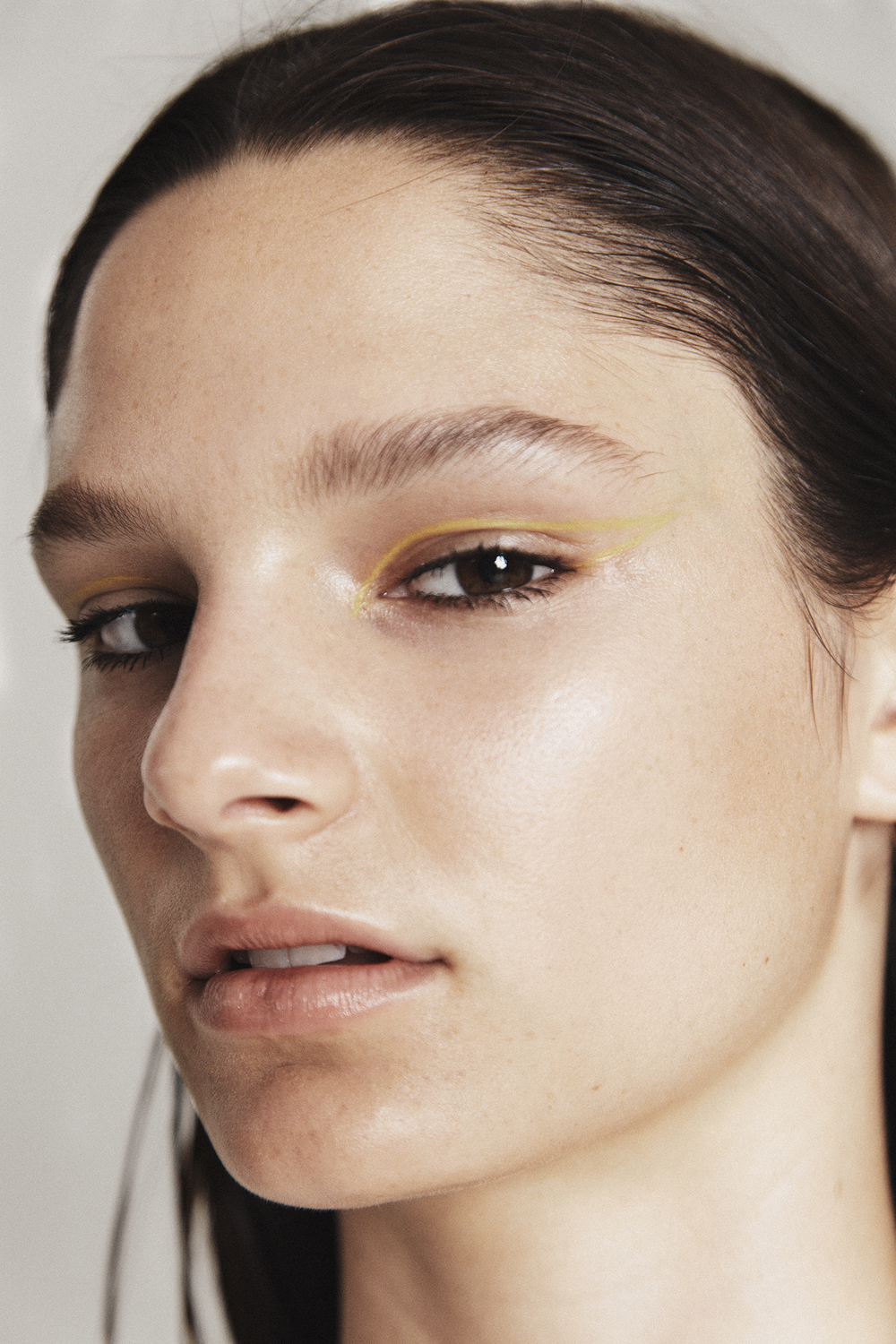 Emily Rink Photographed by Adam Bryce and Styled By Chloe Hill for Oyster Mag Feat Mac cosmetics yellow eye pencil