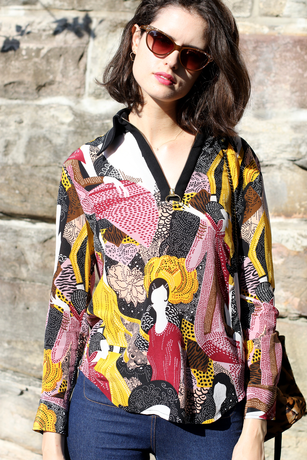 Sydney Fashion Blogger Chloe Hill Wearing Karen walker printed zip up top and Sarah and Sebastian star necklace on the streets of sydney