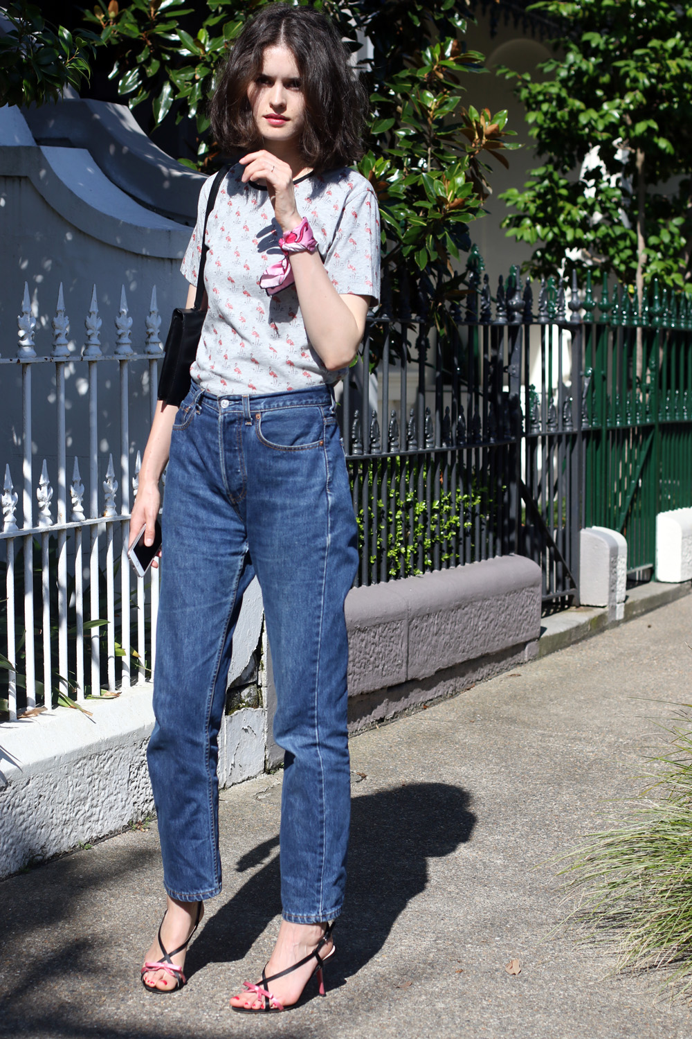Australia based blogger and stylist Chloe Hill in Easton Pearson, vintage Levis and Miu Miu