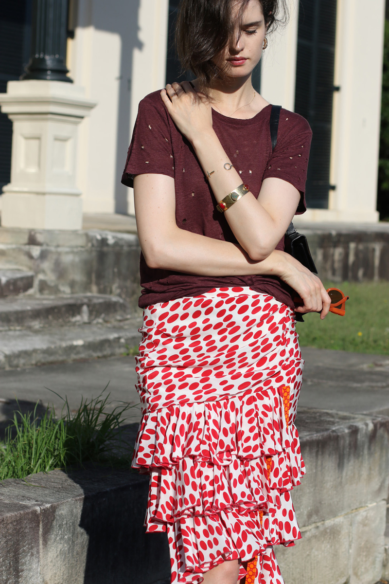 Australian Fashion Blog - Chloe Hill in Iro Paris t-shirt and Easton Pearson spotted tiered skirt in Elizabeth Bay