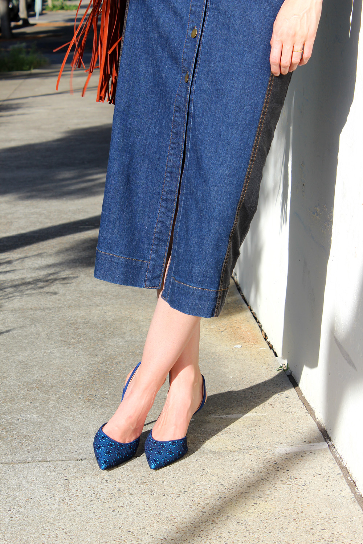 Eugenie long denim skirt and Manolo Blahnik blue sling back heels