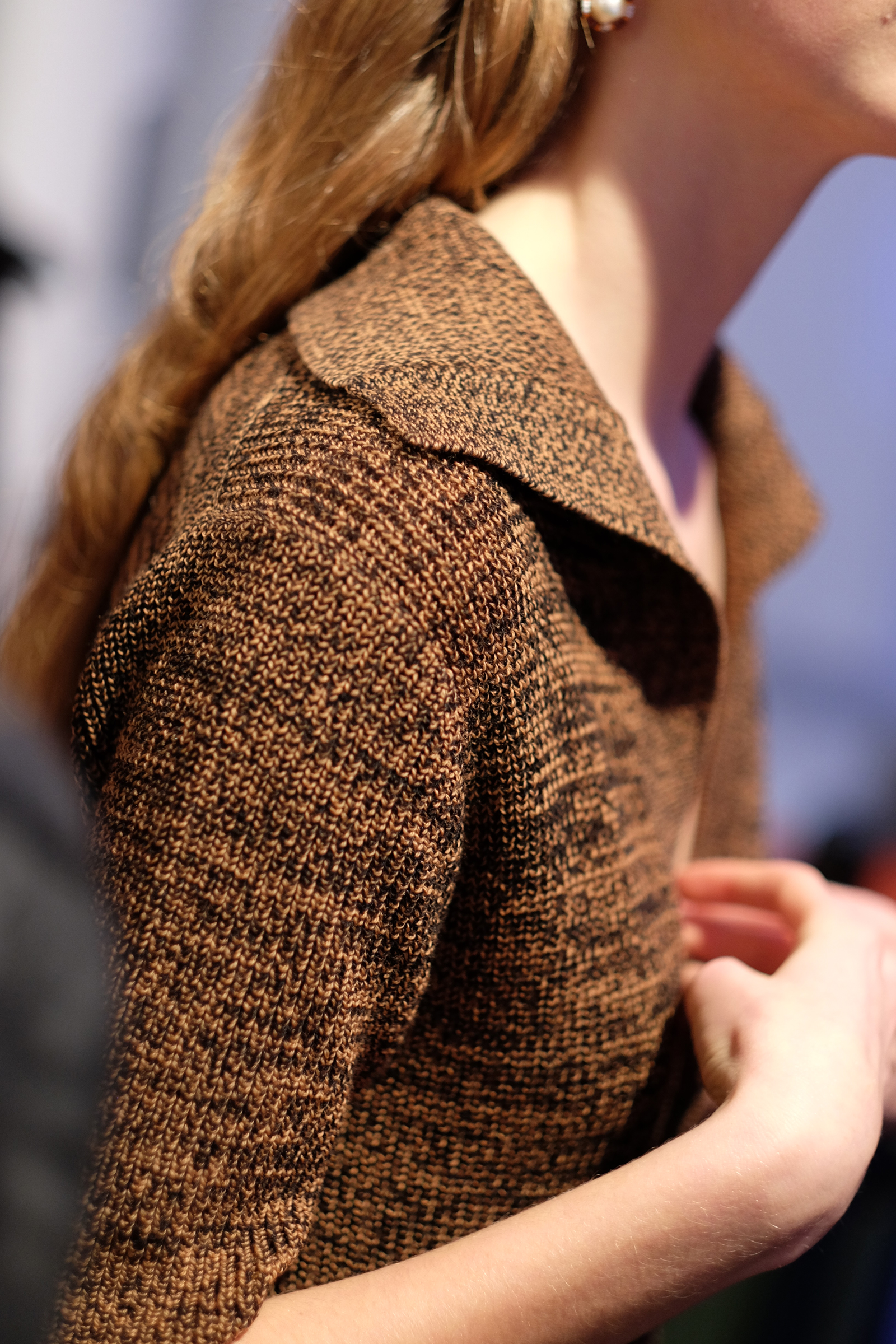 Brown knit polo backstage at Penny Sage's NZFW show | Chloe Hill Fashion Week Coverage 2016