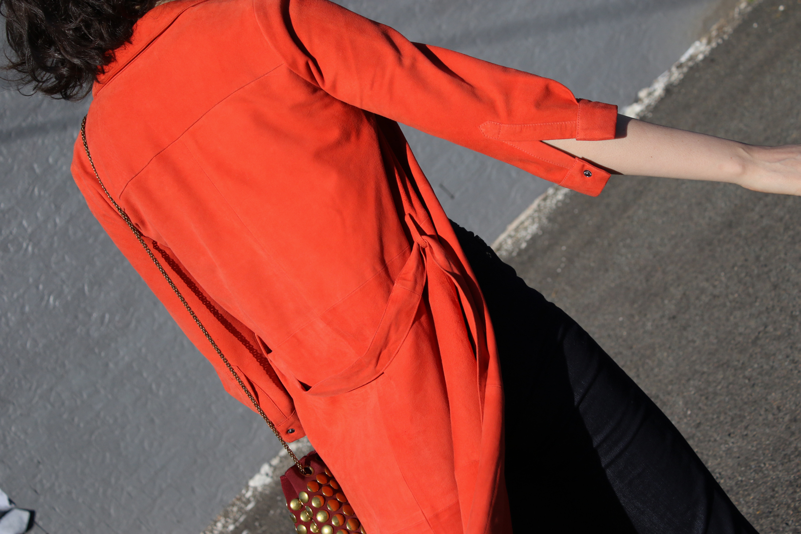 Iris and Ink red suede coat chloechill.com