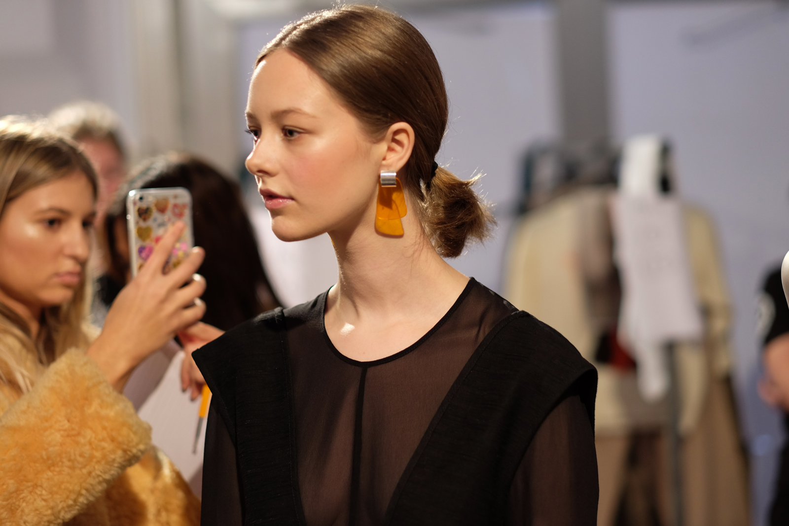 Lucite earrings backstage at Penny Sage's NZFW show | Chloe Hill Fashion Week Coverage 2016