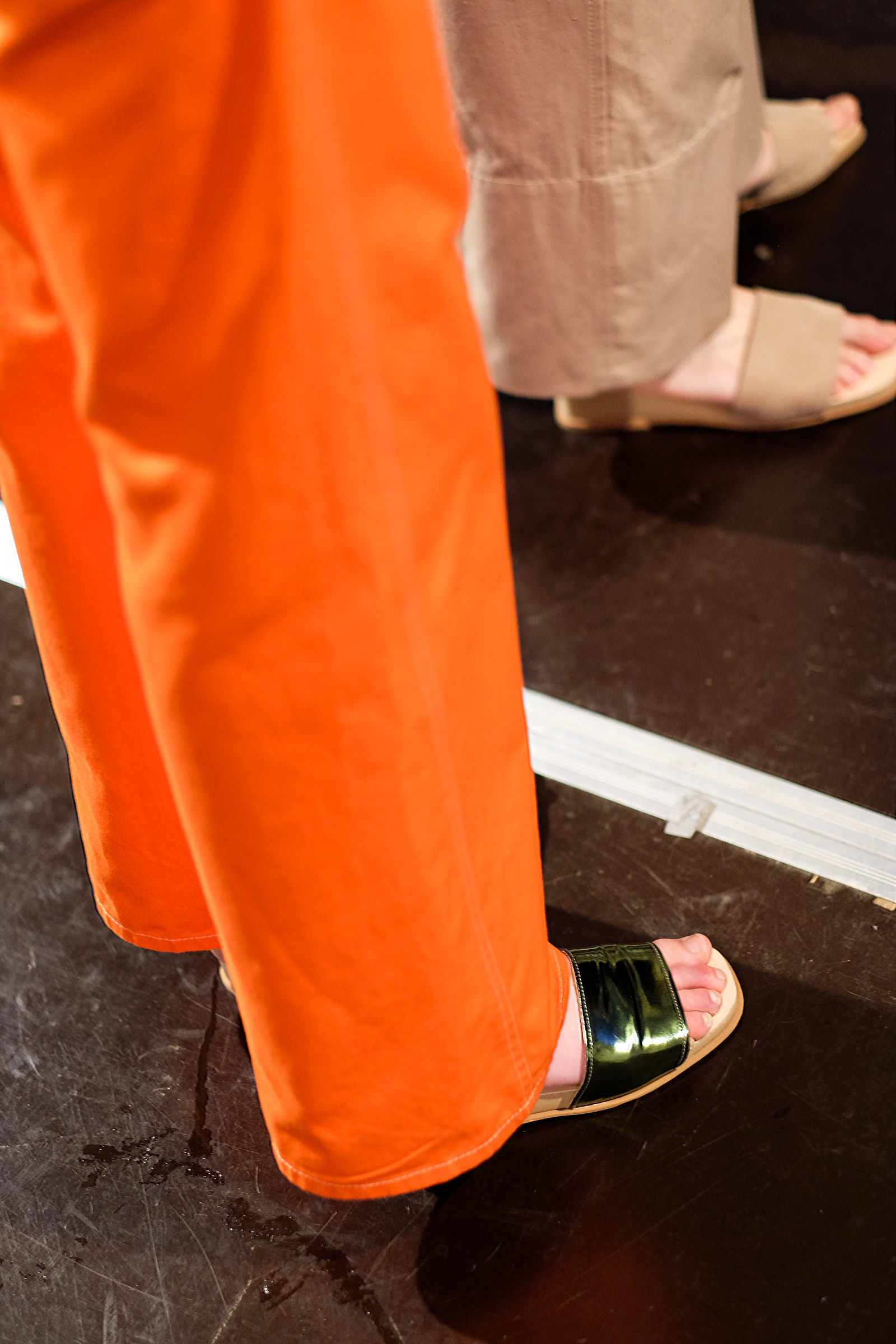 Orange pants and metallic slides backstage at Penny Sage's NZFW show | Chloe Hill Fashion Week Coverage 2016