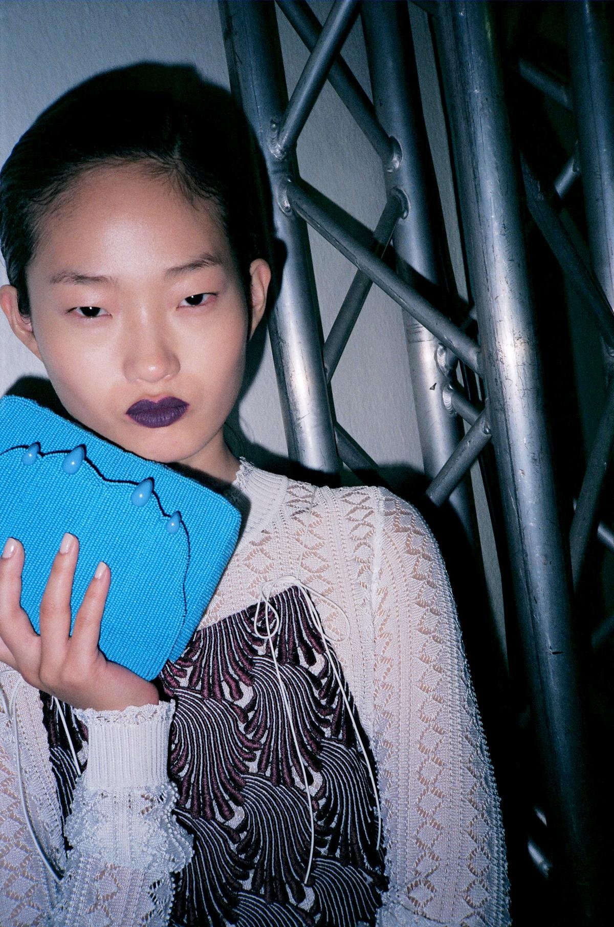 Hyun Ji backstage at the Marco De Vincenzo SS17 show at Milan Fashion Week
