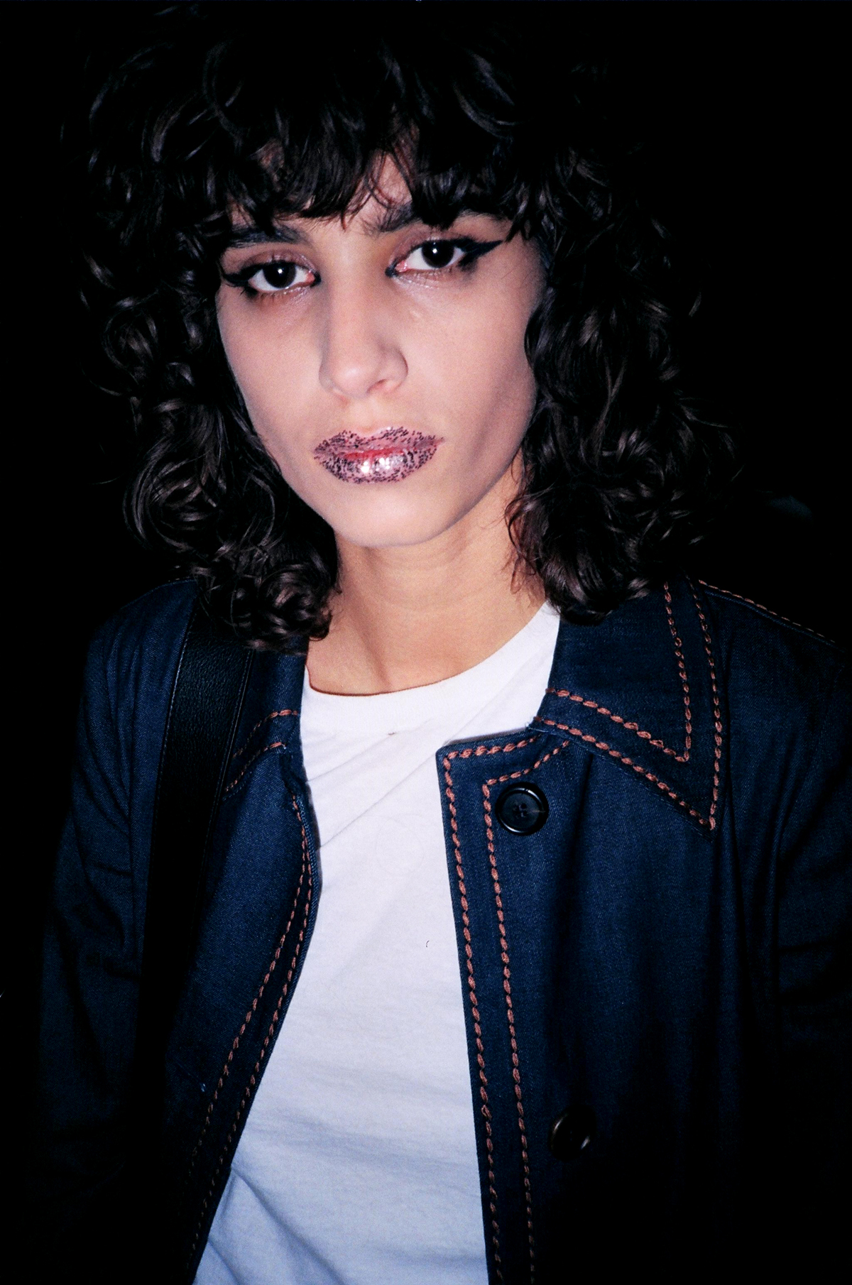 Mica Arganaraz backstage after the Fendi SS17 show at Milan Fashion Week