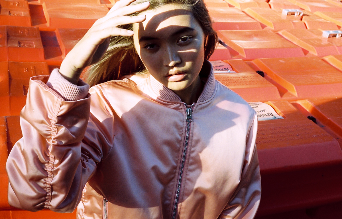 Kat Wu Priscillas Models wearing Acne Studios pink bomber jacket shot by stylist chloe c hill for Cool Pretty Cool
