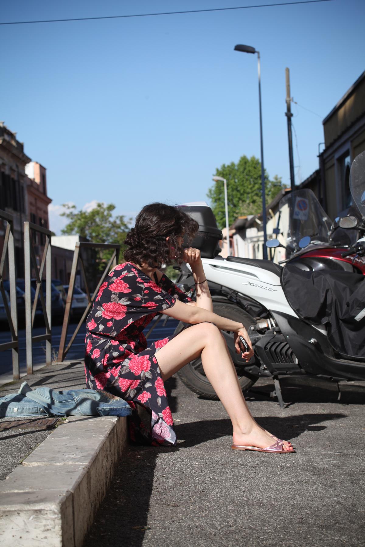 Chloe Hill wearing Sample and Mavi In Rome