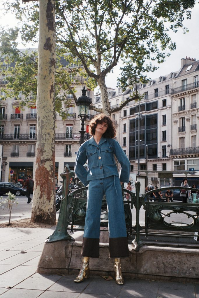 Chloe Hill - Rejina Pyo Daphne blue denim jacket and emily jeans in paris 3