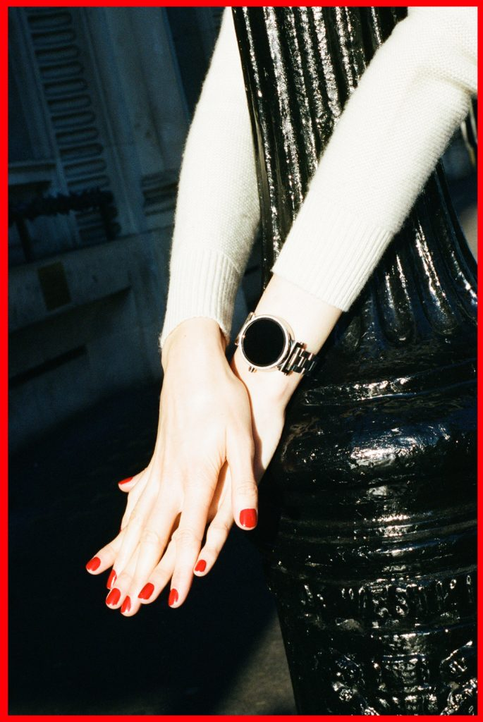 Michael-Kors-silver-sofie-access-watch-in-london---shot-on-film-for-chloechill
