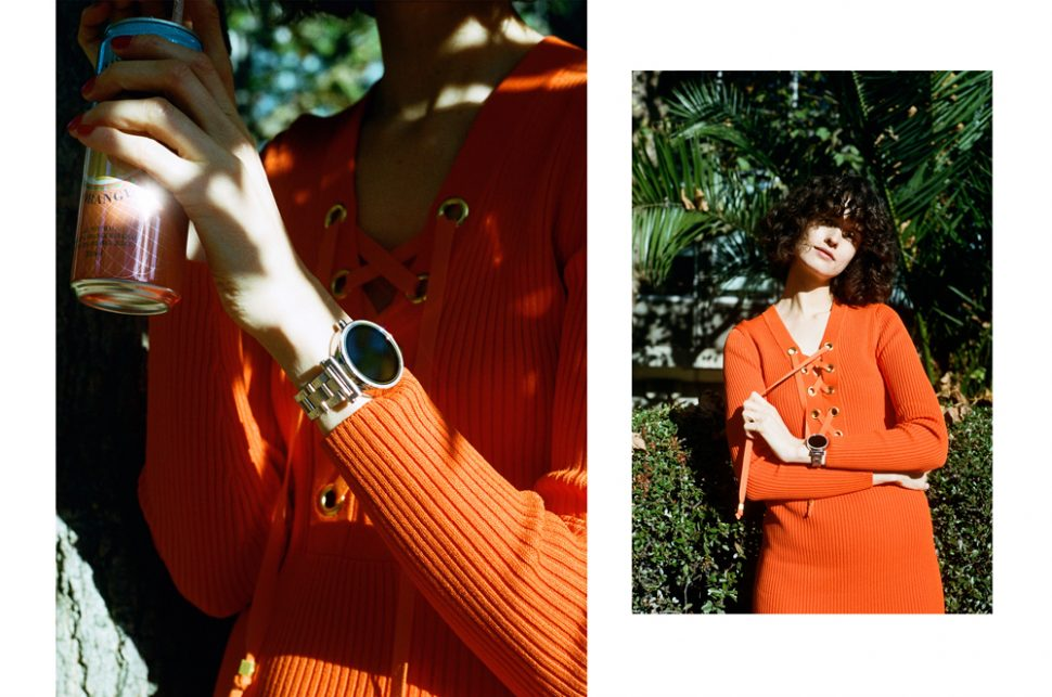 Michael kors orange knit lace up dress and silver sofie smart watch