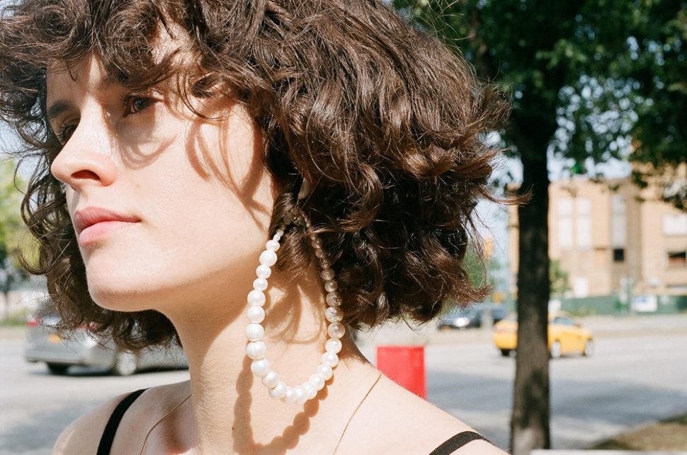 dinosaur designs pearl hoop wearrings in NYC chloe hill