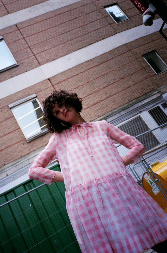 rochas pink checked dress from the outnet chloe chill london 1