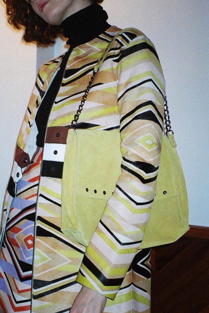 Longchamp SS18 Yellow suede eyelet bag CHLOE HILL STYLIST LFW Feb 18 3