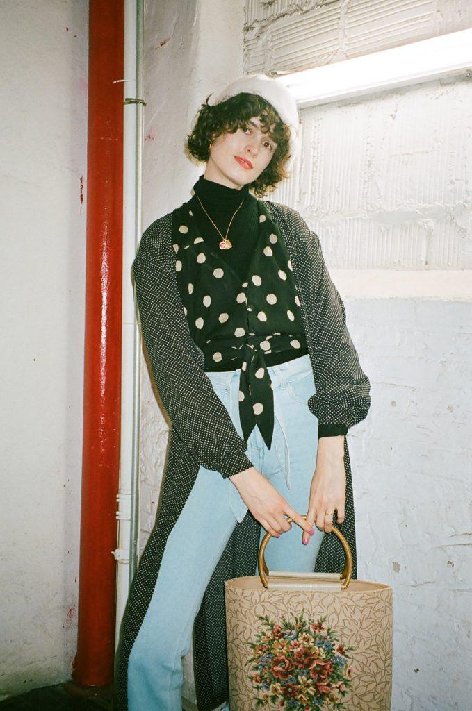 Nanushka NYFW 2018 chloe hill spot dress top and fray jeans 5