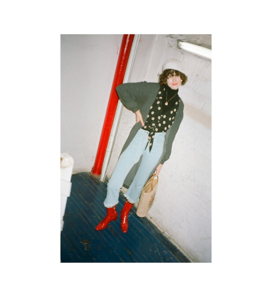 Nanushka NYFW 2018 chloe hill spot dress top and fray jeans 6