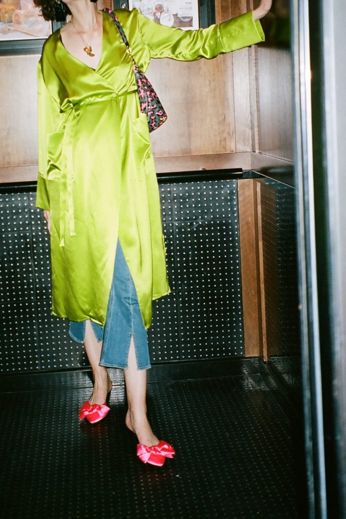 Topshop boutique lime green dress chloe hill fashion week 1