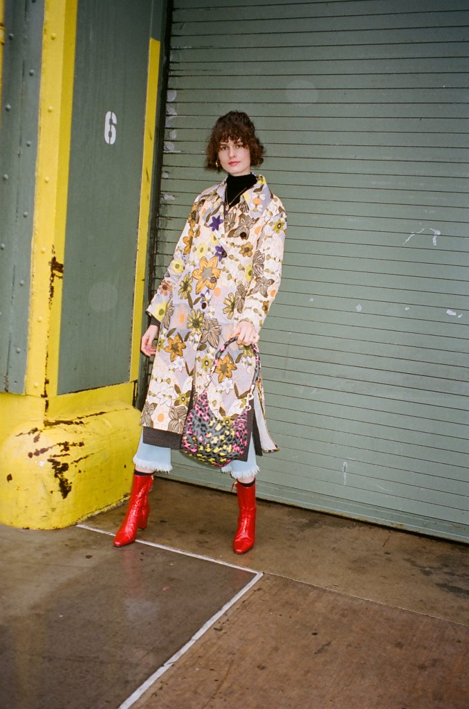 acne studios floral trench coat new york fashion week street style nyfw 2