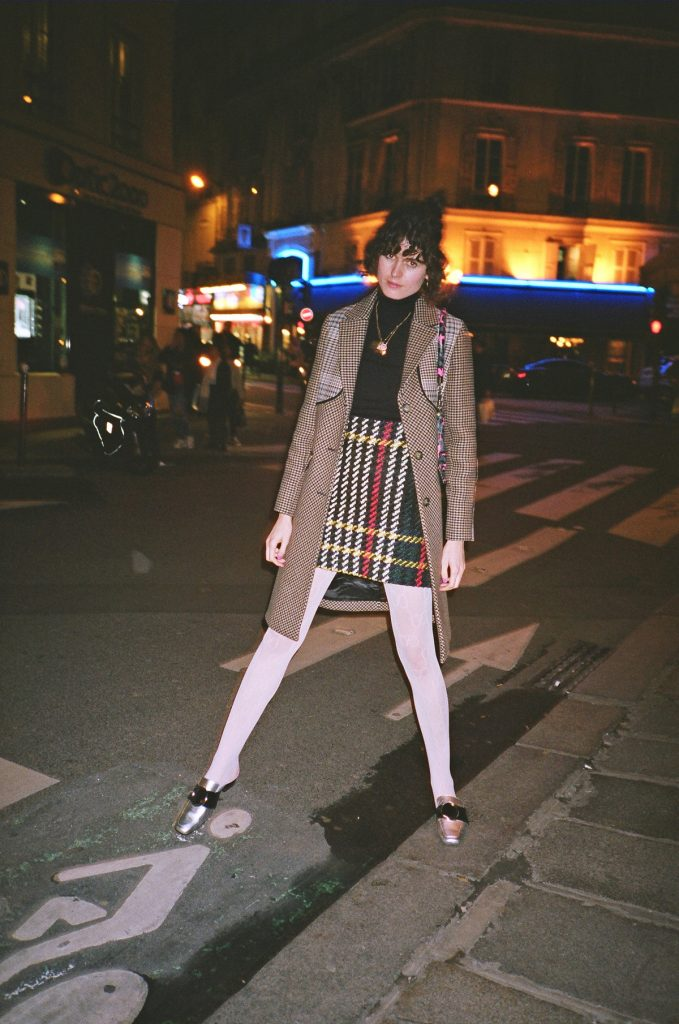 Maje coat and gucci stockings in Paris 1
