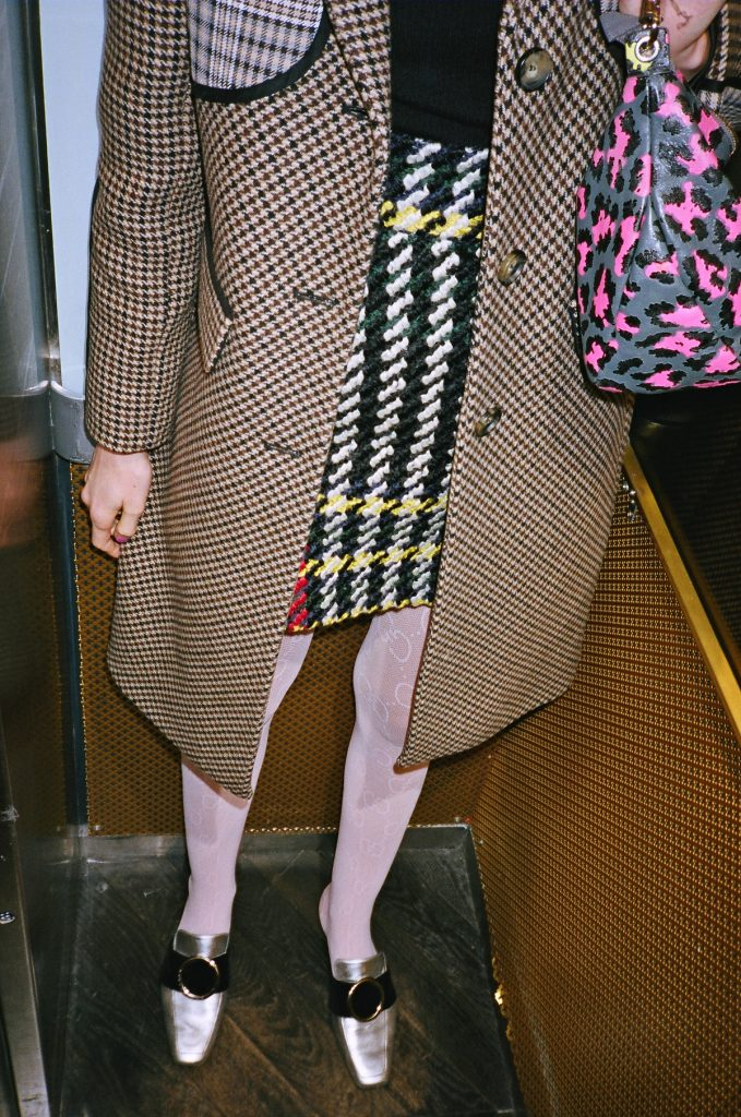 Maje coat and gucci stockings in Paris 2