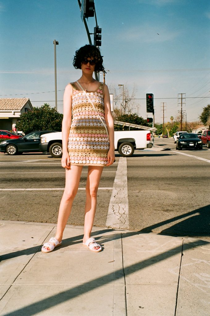 She made me pastel crochet dress in LA Chloe Hill 1